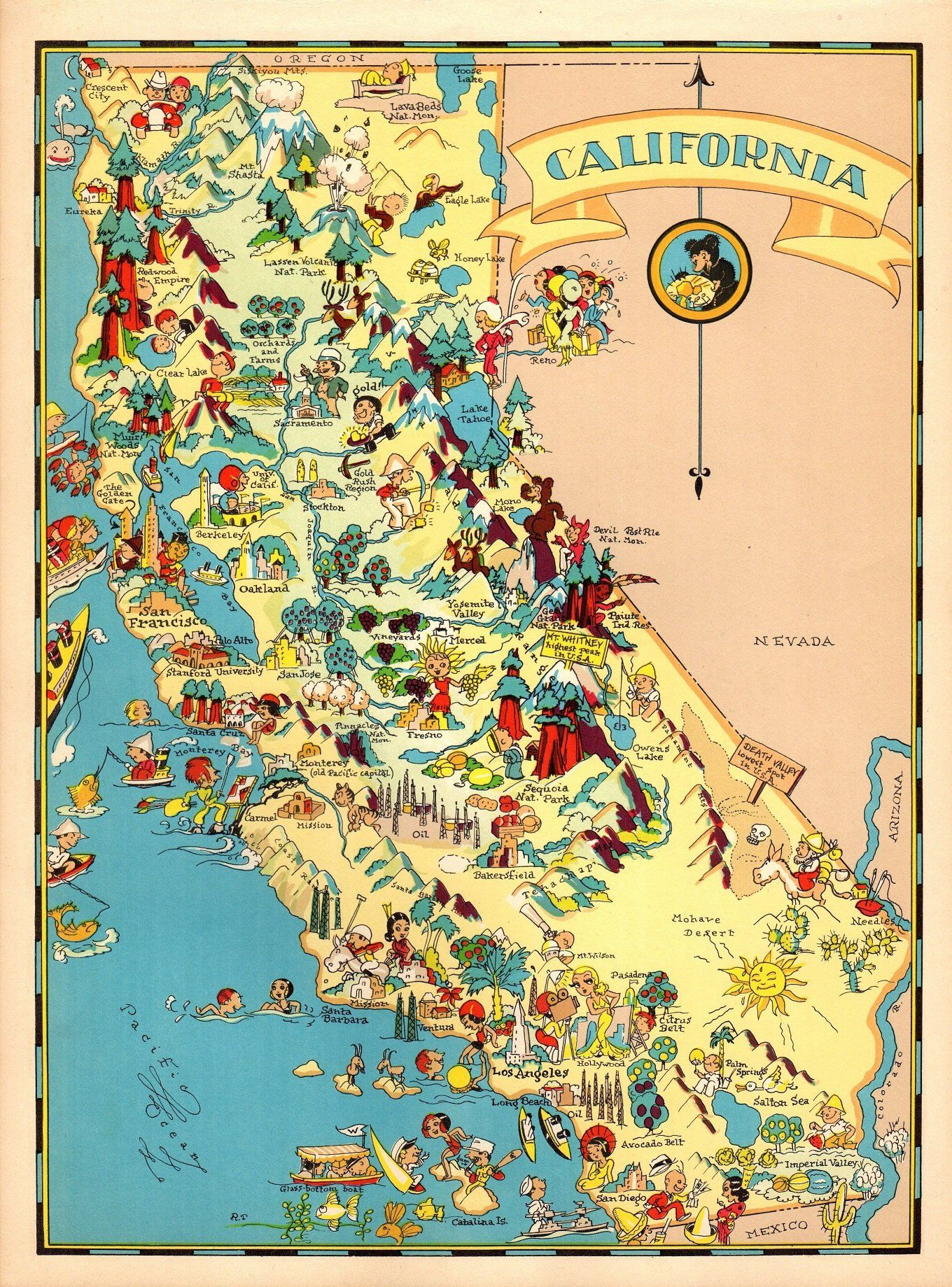1930\'s Vintage California Picture Map State Cartoon Map Print ...