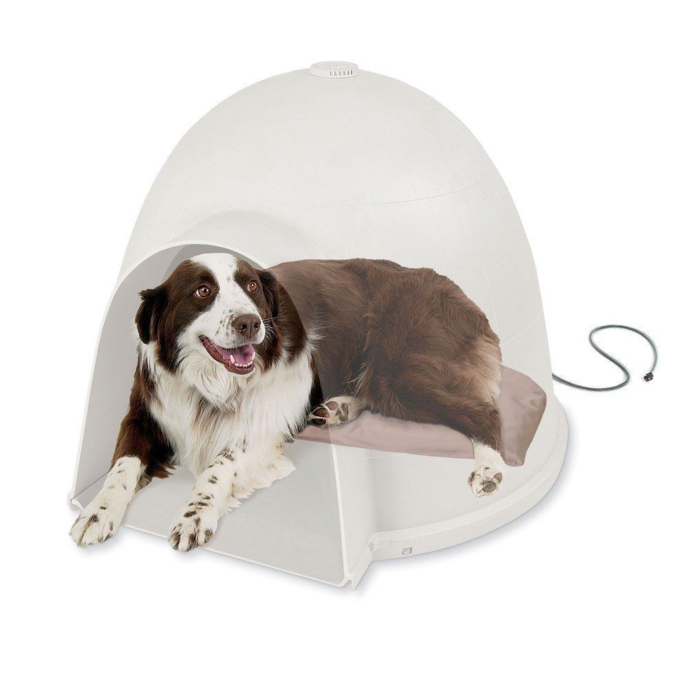 Heated Dog Bed Tan Soft Igloo Style Warm Round Moon House Shelter