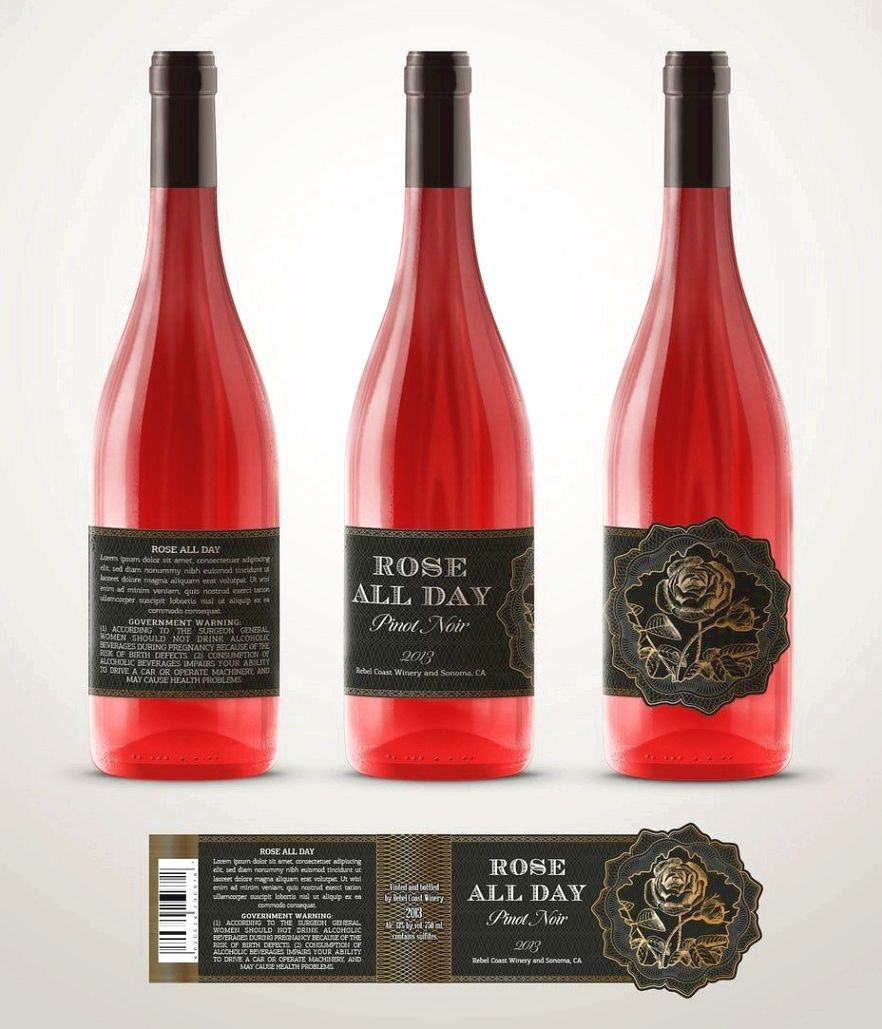 Rose Wine Wine Label Wine Label Design Sparkling Wine Label