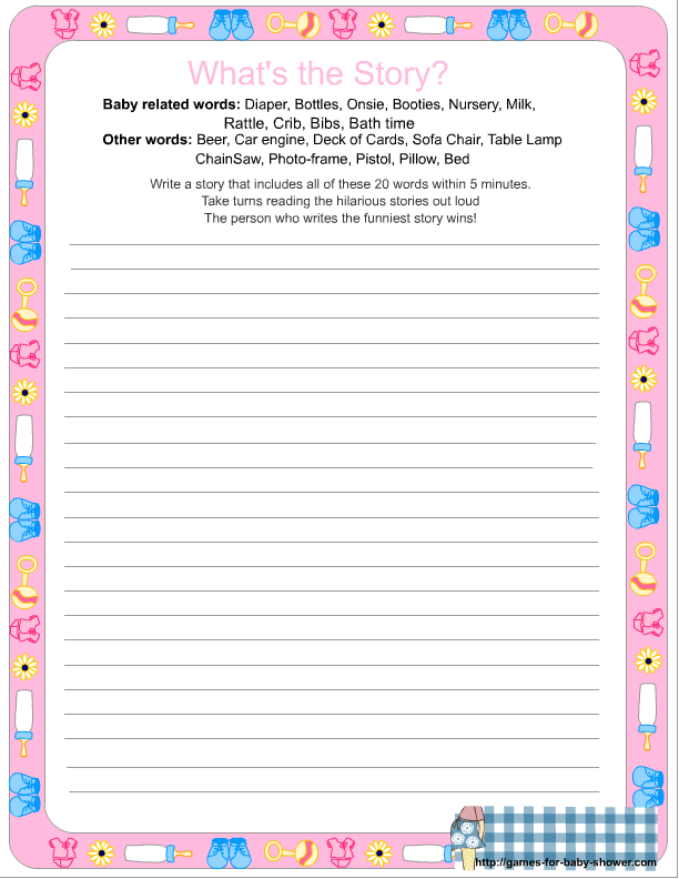 Free Printable Whats The Story Baby Shower Game In Pink Color Baby
