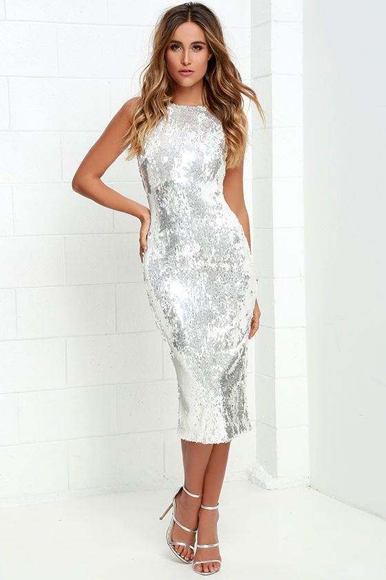 1b60d7450353a Dress the Population Audrey White and Silver Sequin Midi Dress at Lulus.com!