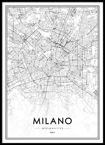 Milano Map Poster City Map Poster World Map Poster City Maps