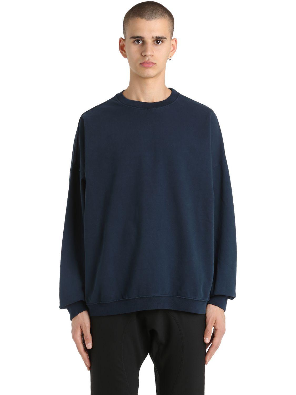 Yeezy Crewneck Cotton Sweatshirt In Blue Modesens Cotton Sweatshirts Mens Sweatshirts Sweatshirts [ 1500 x 1125 Pixel ]