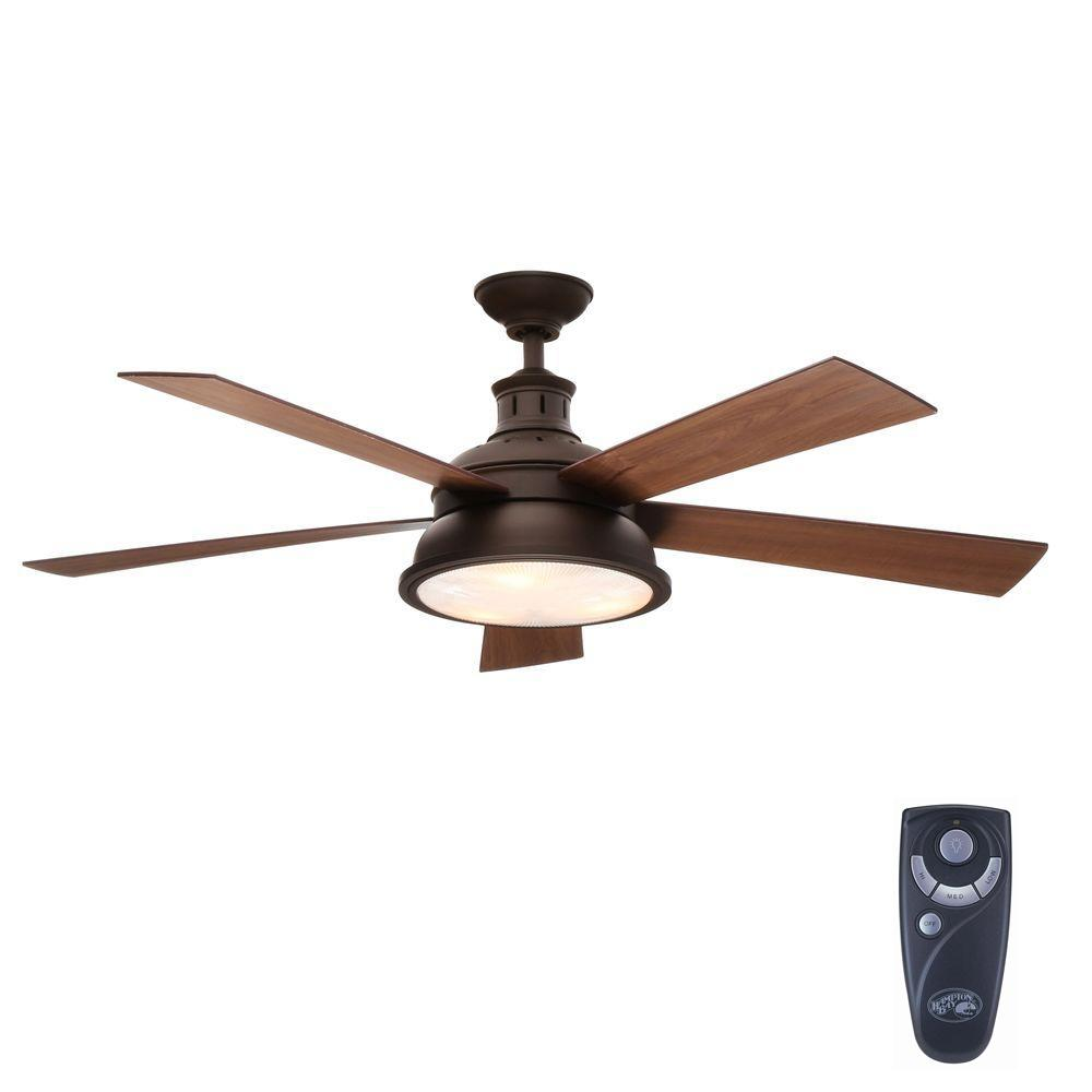 Hampton Bay Marlton 52 In Indoor Liquid Nickel Ceiling Fan With Light Kit And Remote Control Yg305 Ln The Home Depot Bronze Ceiling Fan Ceiling Fan With Light Ceiling Fan