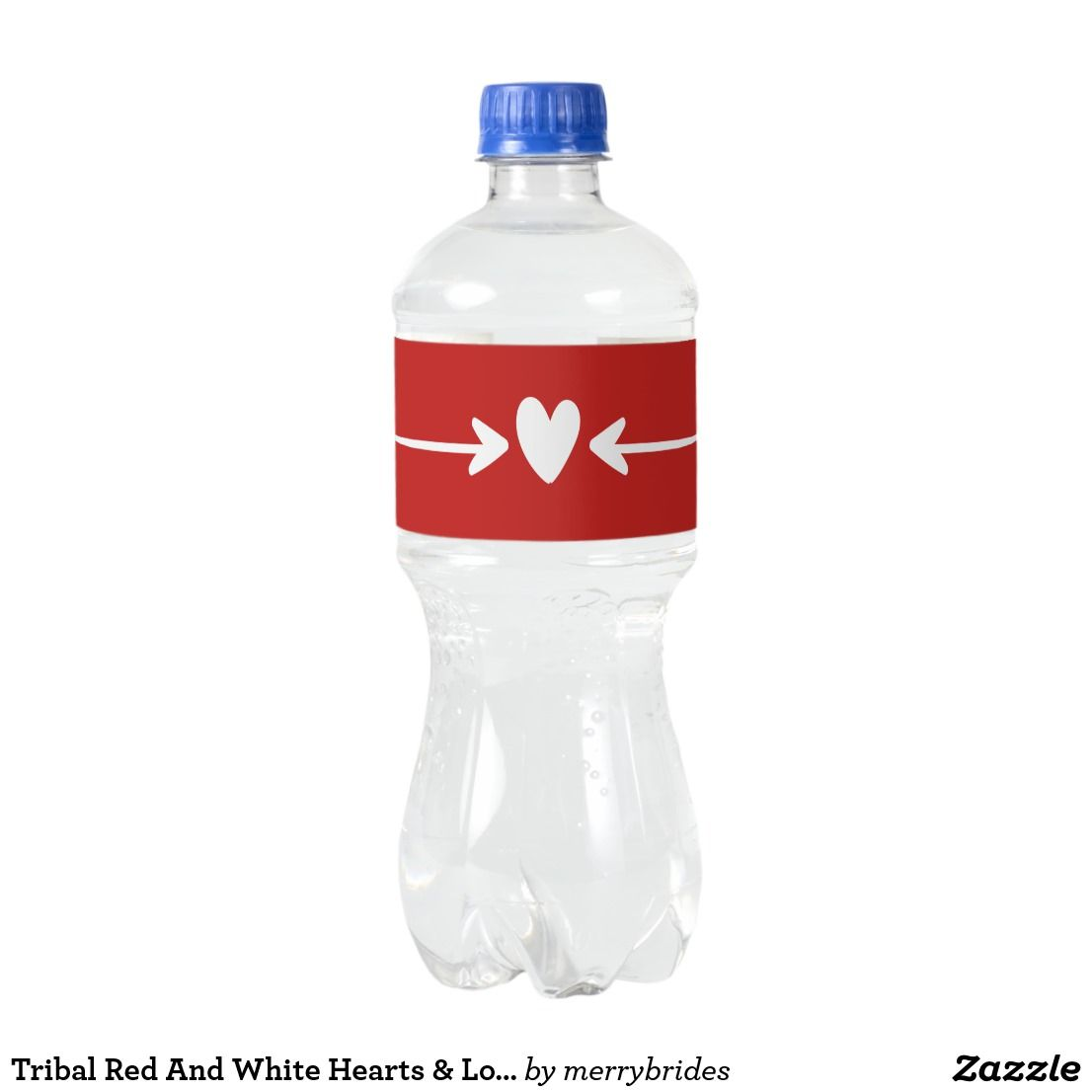 Tribal Red And White Hearts & Love Arrows Wedding Water Bottle Label ...