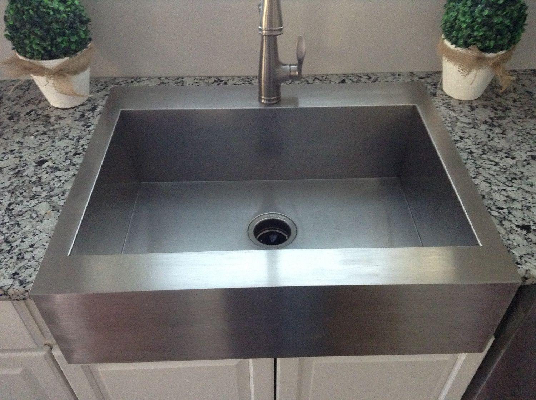 Small Stainless Steel Top Mount Farmhouse Kitchen Sink On Granite