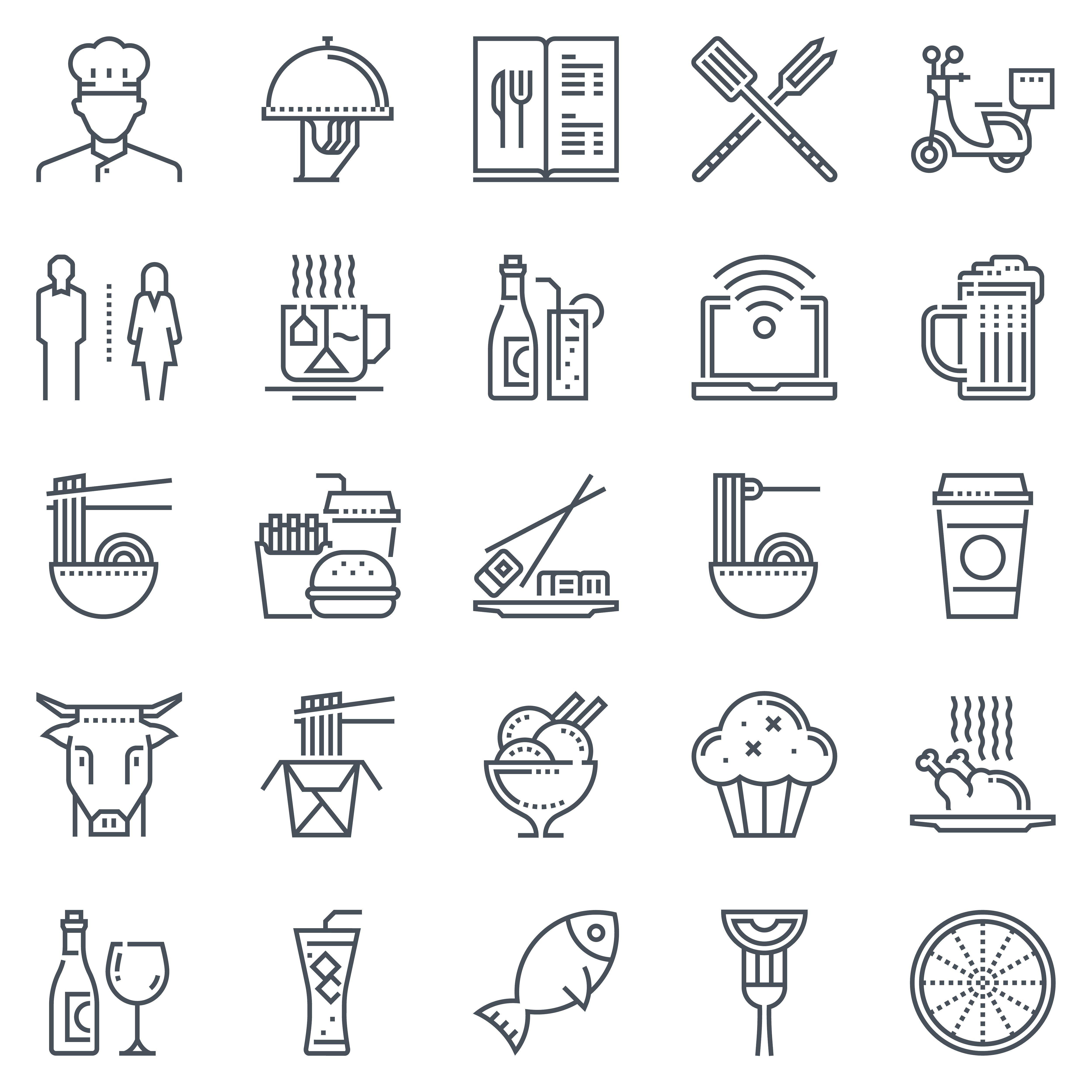 Restaurant Icon Set 25 Icons Restaurant Icon Icon Set Restaurant