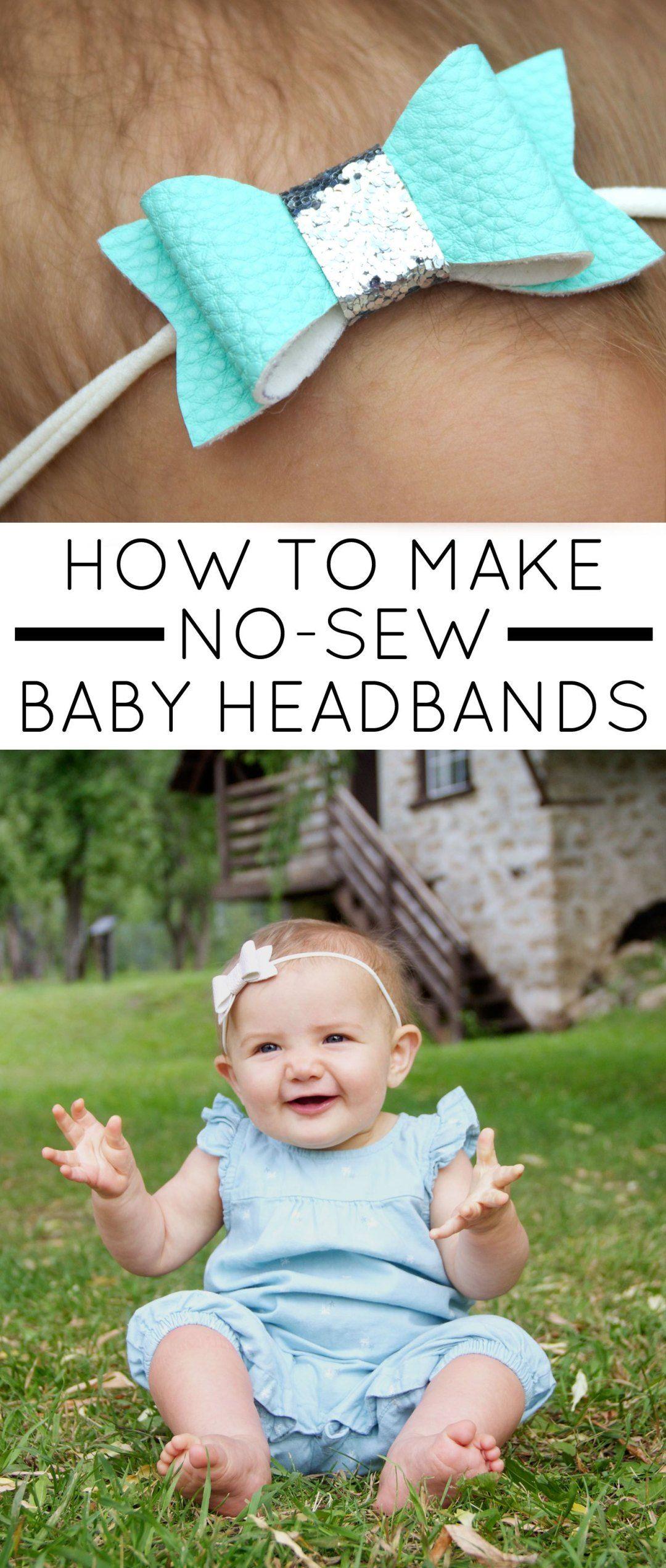 No-Sew Faux Leather Baby Headbands » Jessie K Design #diybabyheadbands