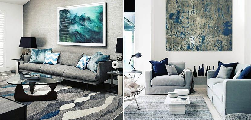 decorar el saln en tonos grises y azules - Decorar Salon