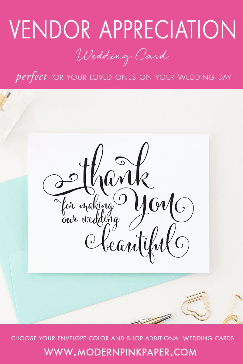 Thank You For Making Our Wedding Beautiful Card For Florist
