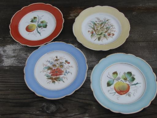 fruit and flowers antique hand-painted china plates w/ colored borders & fruit and flowers antique hand-painted china plates w/ colored ...