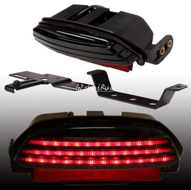 Taillight Brake License Plate Bracket For Harley Custom Softail Cafe Racer Smoke