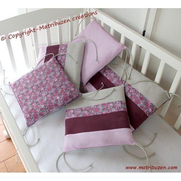 tour de lit bébé prune Très joli tour de lit 5 coussins pour bébé, réalisé dans de très  tour de lit bébé prune