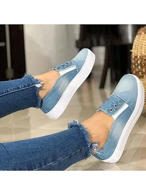 Plain Round Toe Casual Sneakers - Buy