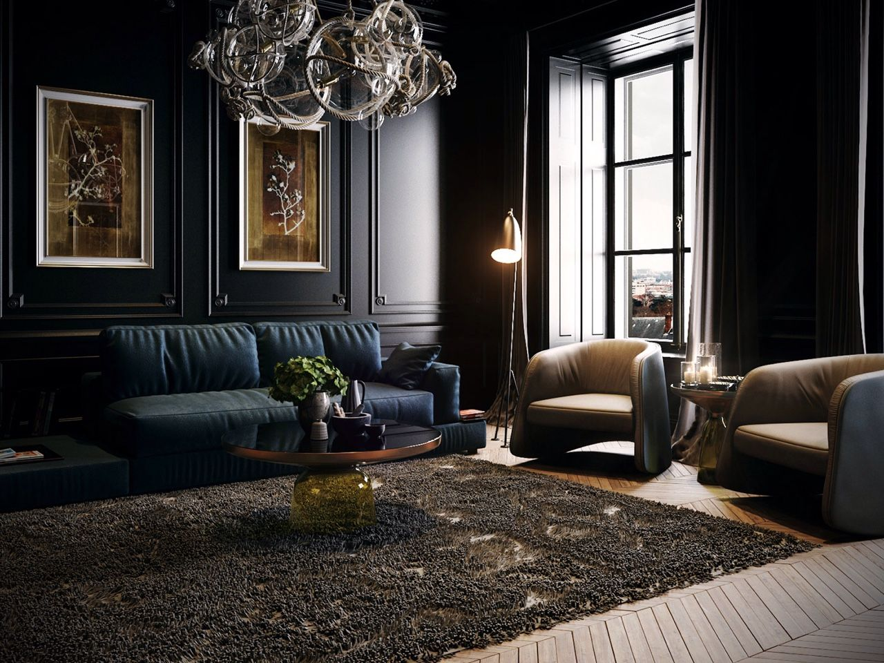 Architectural Visualisation u2014 Black Classic Livingroom by