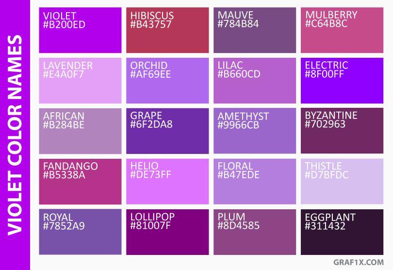 Violet Color Names Farben In 2019 Farben Farbkombinationen