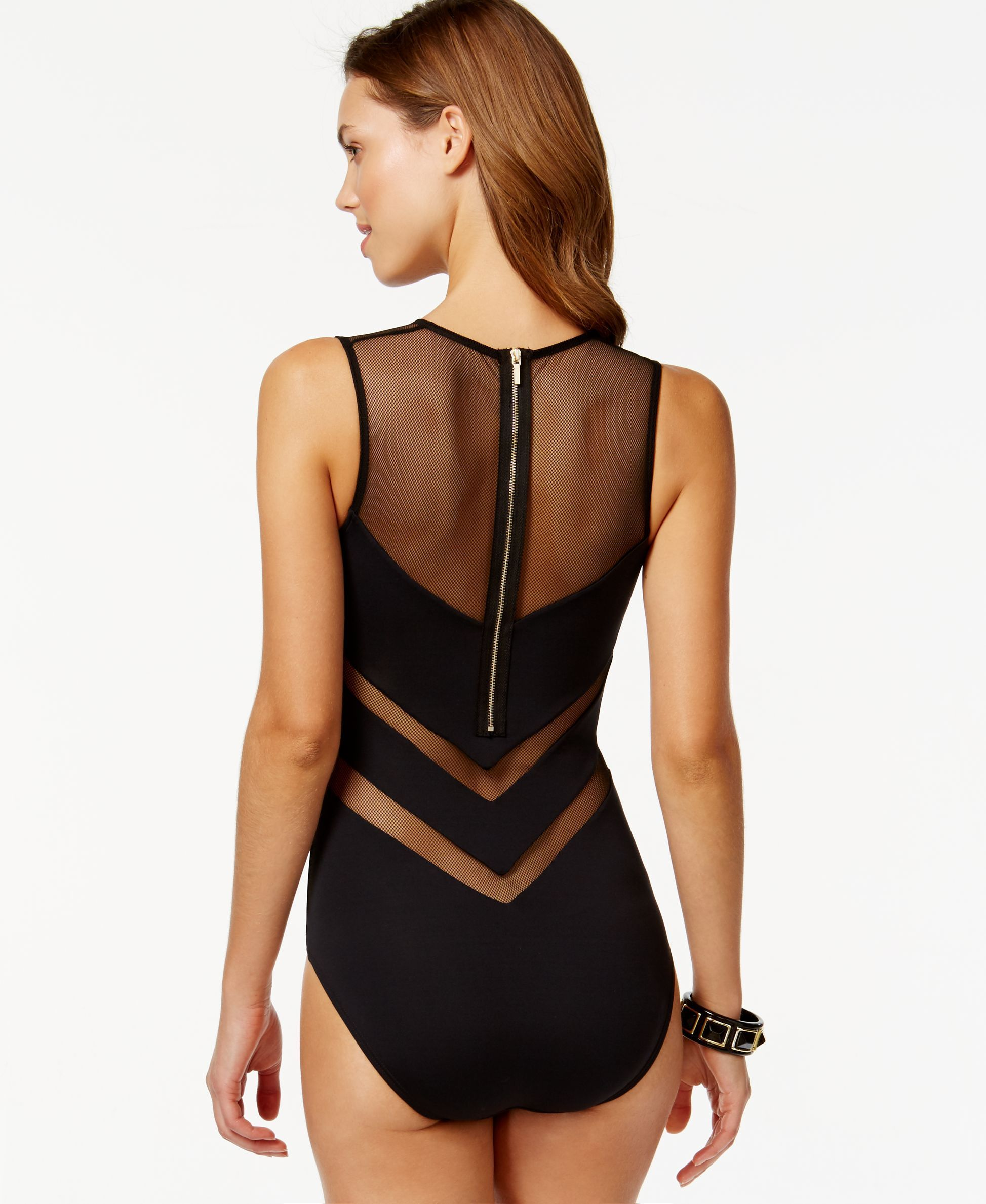 9756c5fff1 Vince Camuto Illusion Mesh Back-Zip One-Piece Swimsuit - 14