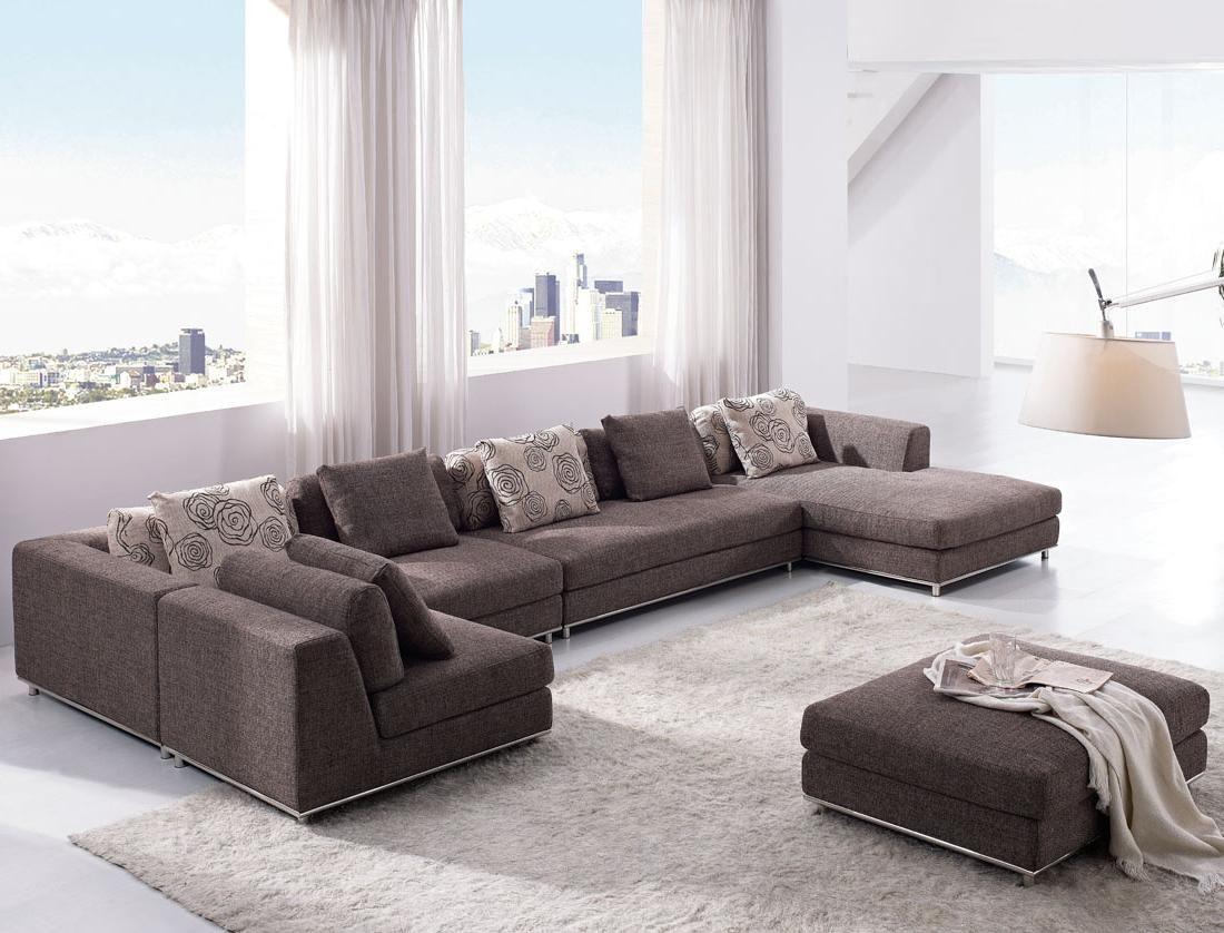 Interesting Gray Sectional Sofa Set In Modern Living Room Plus