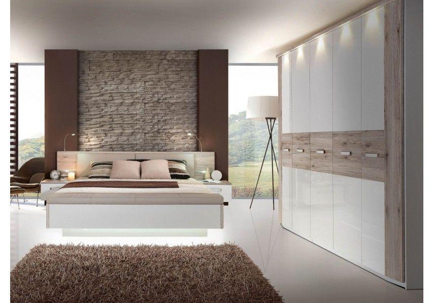 77-00651 Schlafzimmer mit Bett 180 x 200 cm Sandeiche/ weiss ...