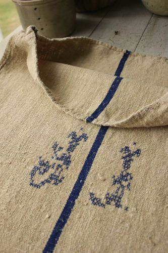 Vintage linen grainsack ~ Wonderful European style ~ homespun hemp blue striped JJ monogrammed ~ ideal for French country style and interiors ~ www.textiletrunk.com