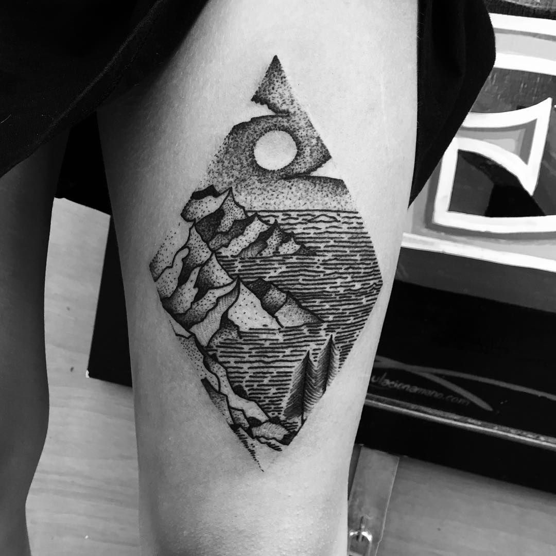 Diamond Landscape Tattoo