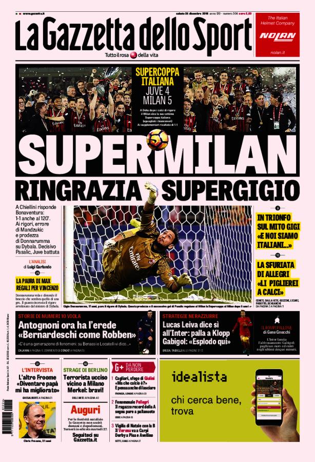 Prima Pagina del 24/12/2016 Sport, Foto di calcio, Calcio