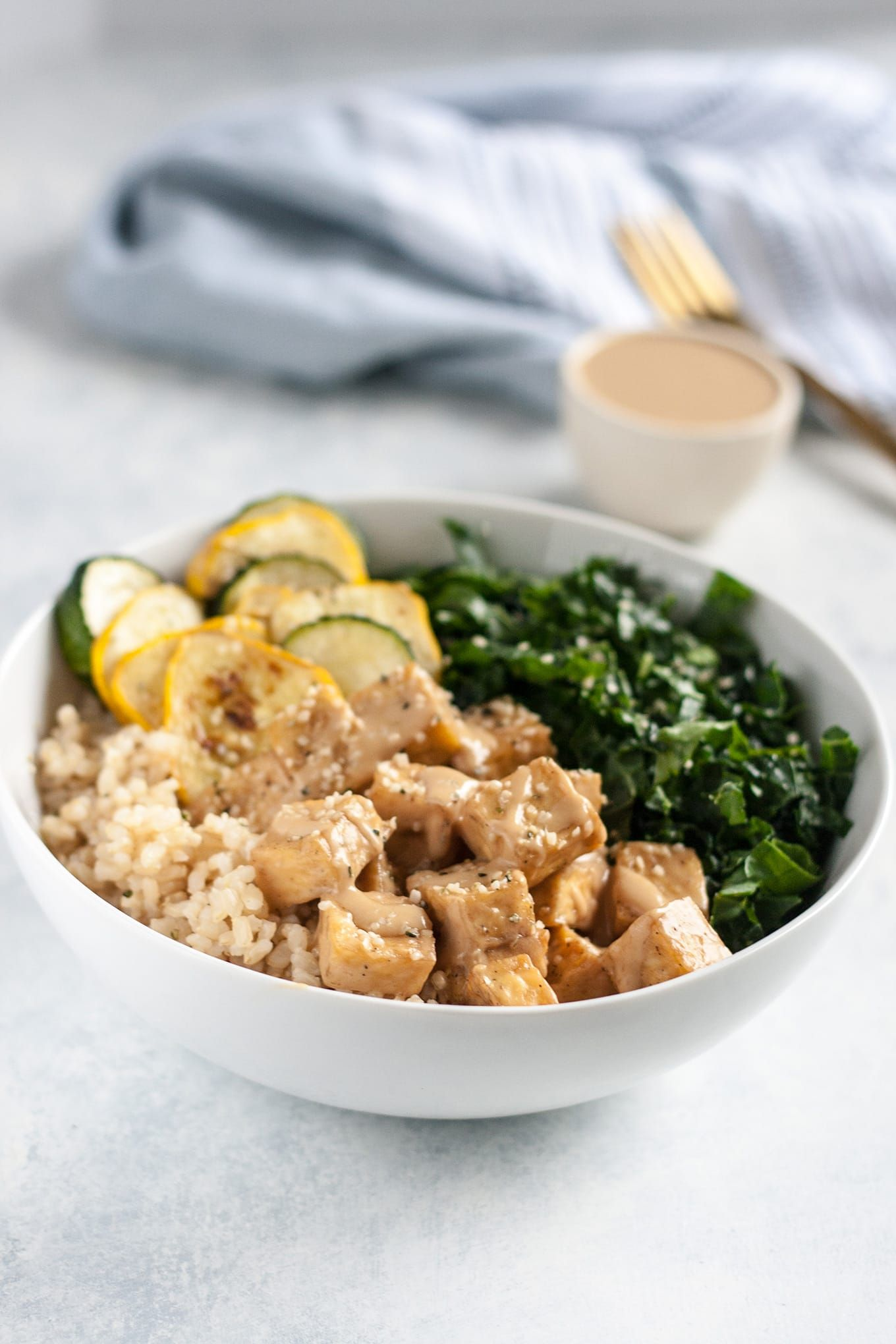 Almond Butter Tofu Bowl With Kale And Summer Squash