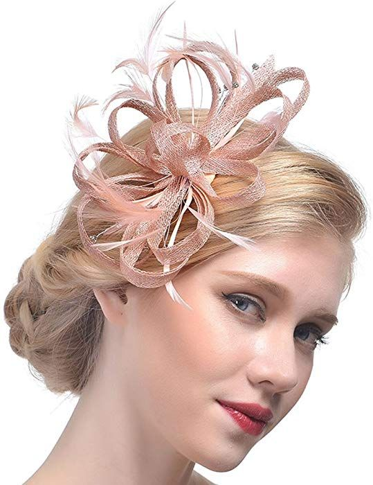 Amazon.com  SUREPOCH Women Fascinators Hats Feather Mesh Net Hair Clip  Wedding Tea Party Headwear Derby Hats (Champagne)  Clothing d5301b1241f