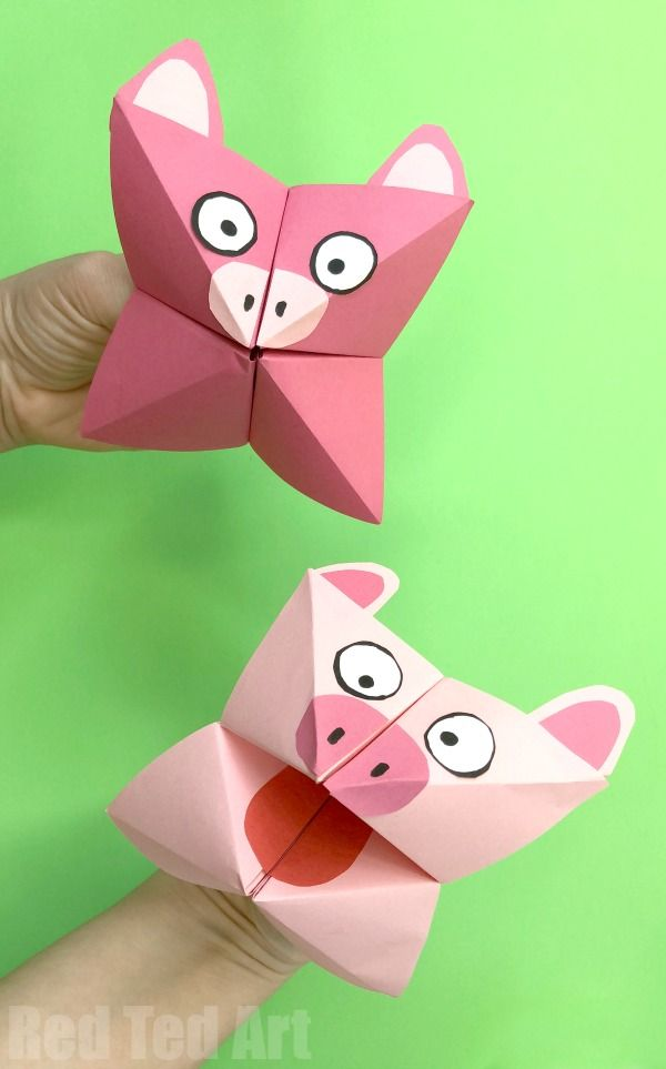 Pig Cootie Catcher Craft Kids Printable Pinterest Crafts For