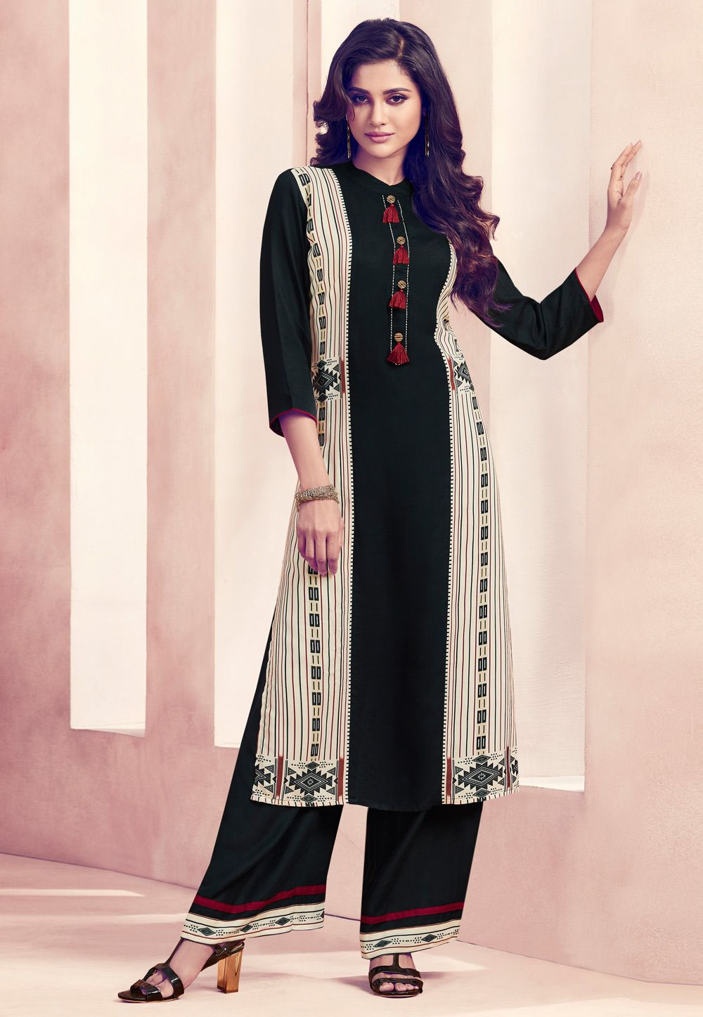a94309b8ea Shop Black Rayon Readymade Kurti 165527 online at best price from vast  collection of designer kurti
