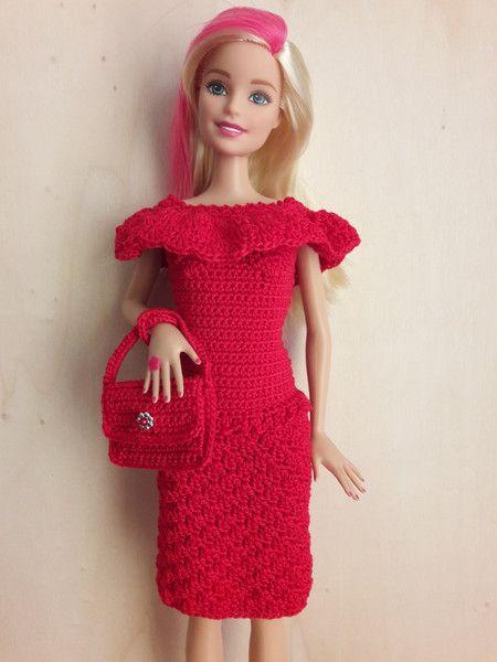 Puppenkleidung Barbie Kleid Gehäkelt Rot Ein Designerstück