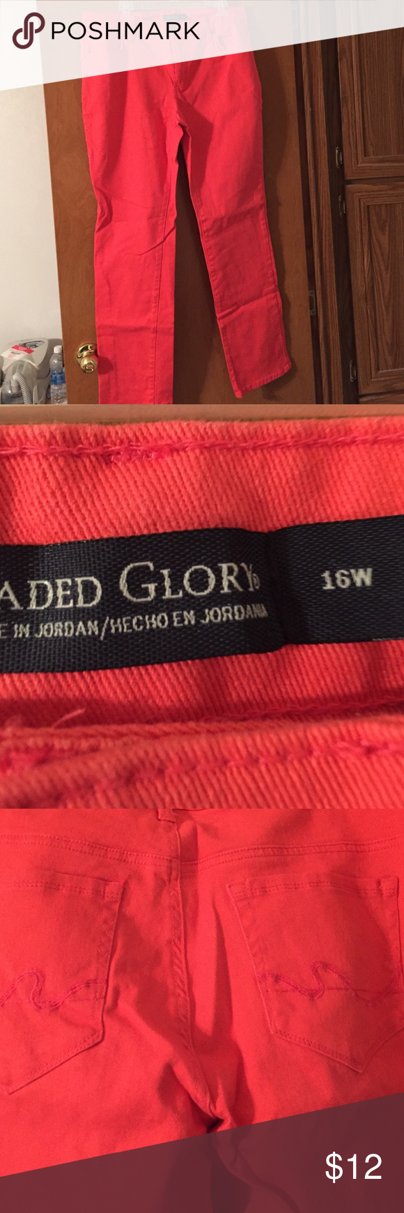 """Faded Glory Pink Jeans 16W Dark pink jeans by Faded Glory in size 16W. Material is 98% Cotton & 2% Spandex. Jeans have pockets in front and back. Inseam is 31"""". Very good condition. Faded Glory Jeans Boot Cut"""