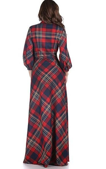 4588d1978ef 2018 Maxi Plaid Dress 2015 Year Summer Style New Fashion Female 3 4 Sleeve  Red Green Long Floor Length Womens Plus Size Clothing From Allmaker02