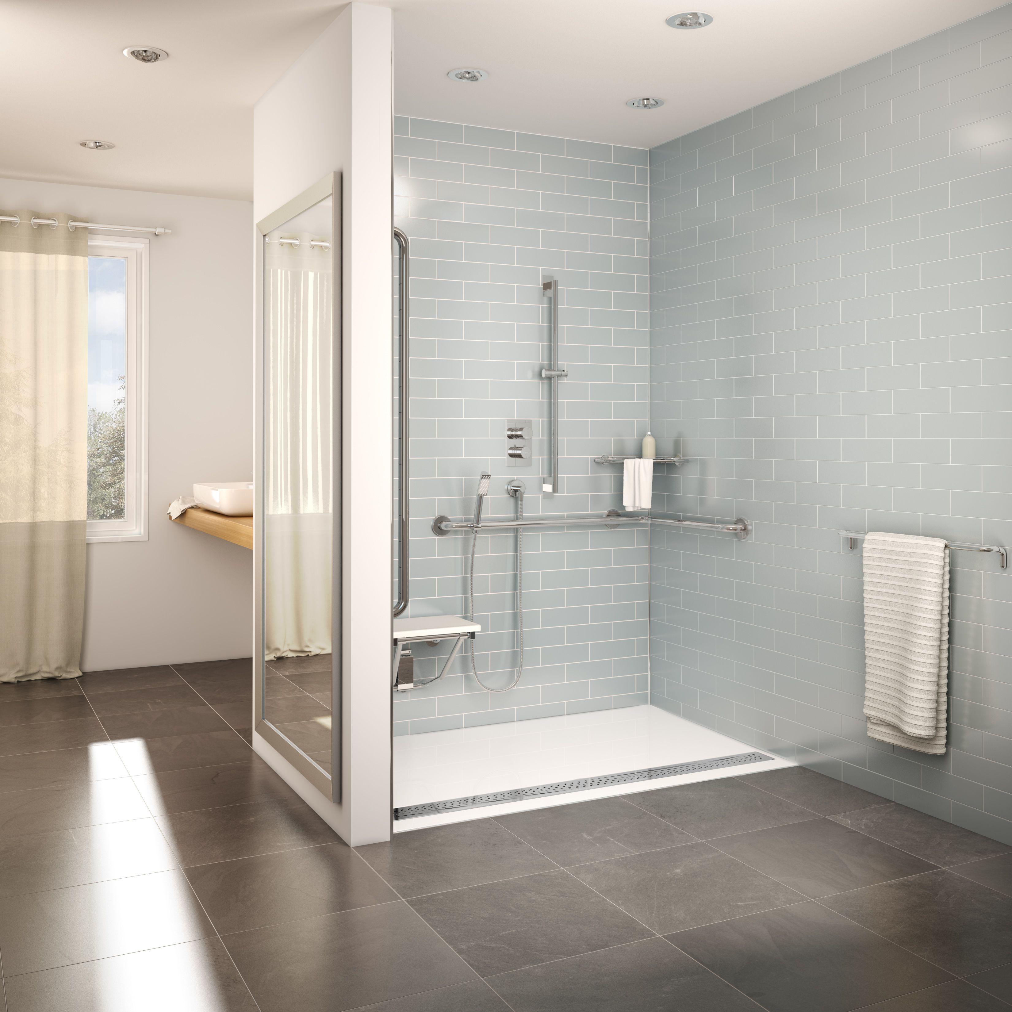 Fleurco adaptek shower base roll in typ fleurco bathroom for Ada bathroom design ideas