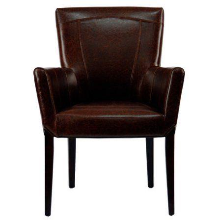 Safavieh Ken Leather Arm Chair Walmart Com In 2020 Leather Armchair Brown Armchair Leather Accent Chair