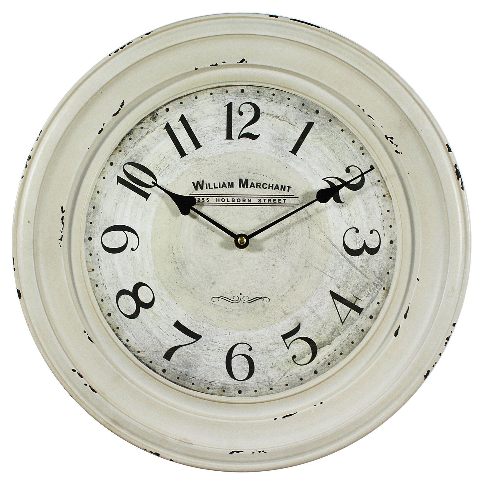 William Marchant 16 In Wall Clock Ivory White Wall Clocks Wall Clock Vintage Wall Clock