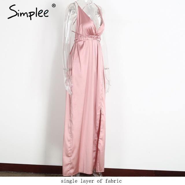 Simplee Slip satin backless sexy long dress Women pajamas summer ...