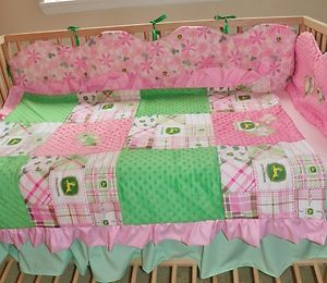 John Deere Crib Bedding Baby Infant Pink Green Plaid Nursery