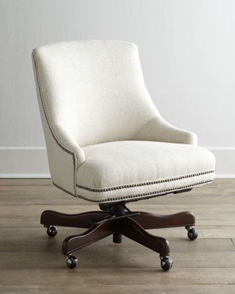 white upholstered chairs indoor hanging with nailhead trim littleton swivel office chair horchow