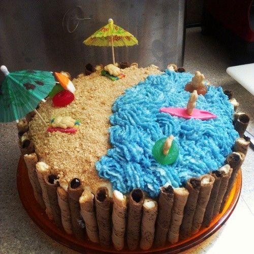 Beach Themed Cake Super Cute And Easy To Make Cake Beach