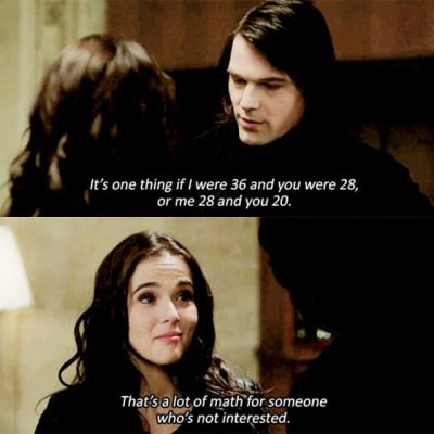 Dimitri: It's one thing if I were 36 and you were 28, or me 28 and you 20.   Rose: that's a whole lot of math for someone who's not interested.