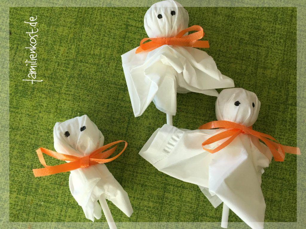 Gespenster Lutscher als Süßigkeit für Halloween basteln #halloweencraftsfortoddlers