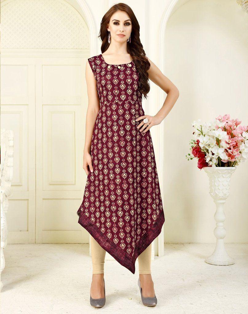 Wine Printed Crepe Kurti Kurti Dress Tunic Casualwear Casualstyle Casual Wear Traditional Indian Bo Kurti Designs Clothes For Women Western Dresses