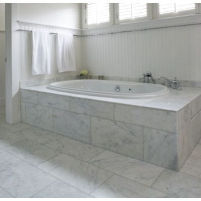 Spaces White Carrera Marble Tile Black Floor Design Pictures Remodel Decor And Ideas Page 4 Tile Tub Surround Marble Tile Bathroom Marble Bathroom Floor