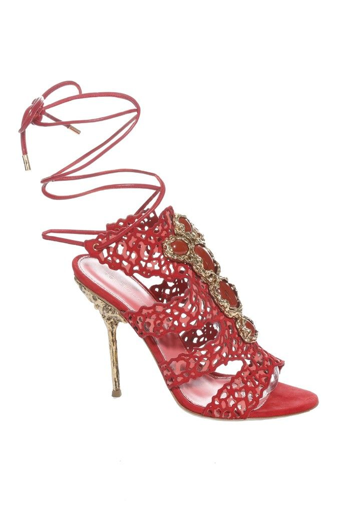 ff4a033a1403d ... Sergio Rossi Resort 2014 Tooled Leather Wrap-Around Heel Sandal half  off de958 67438  Sergio Rossi shoes ...