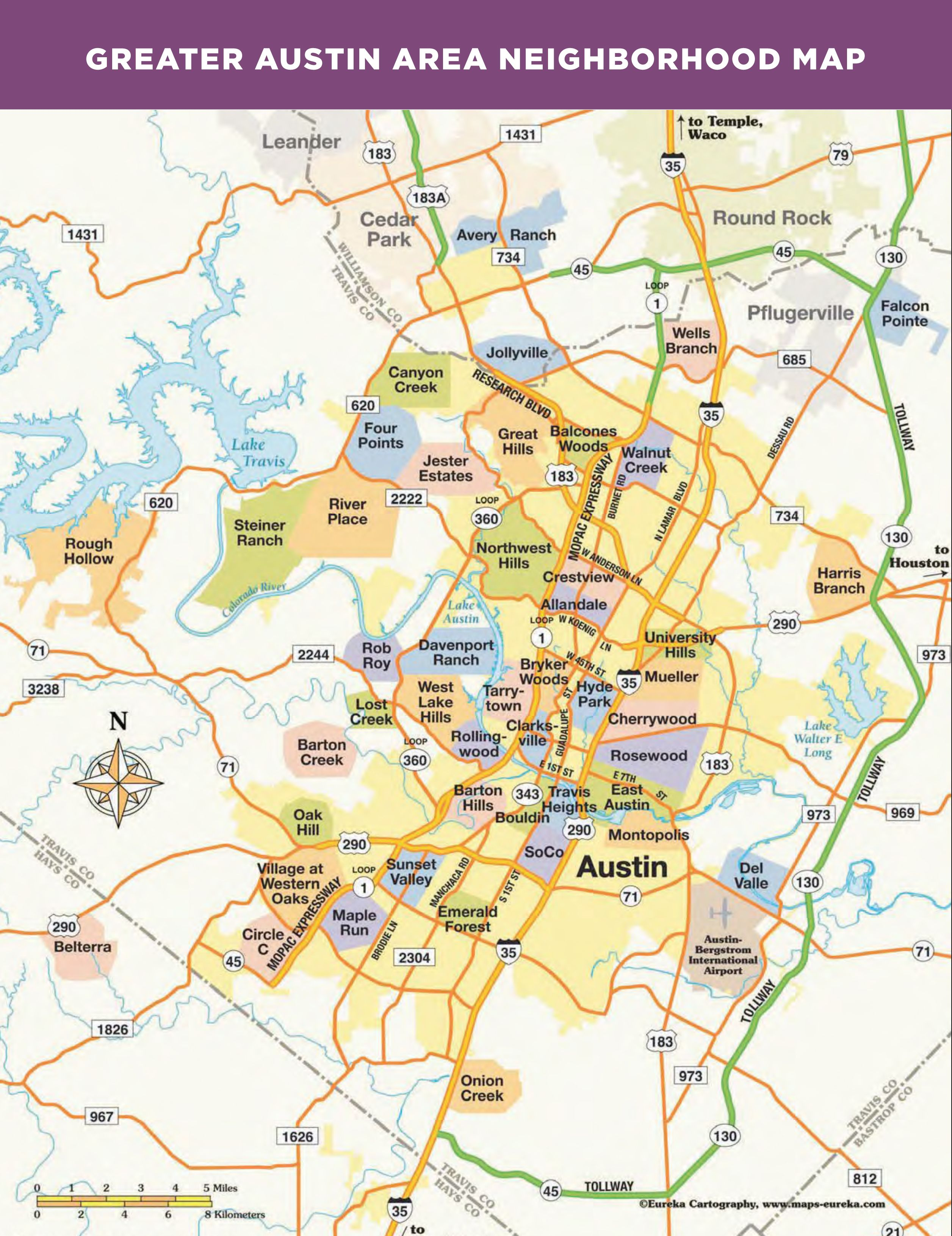 austin tx neighborhood map Greater Austin Area Neighborhood Map Austin Map The austin tx neighborhood map