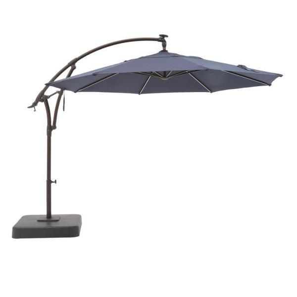 Hampton Bay 11 Ft Aluminum Cantilever Solar Led Offset Outdoor Patio Umbrella In Midnight Navy Blue Yjaf052 Mi The Home Depot In 2020 Patio Umbrella Outdoor Patio Umbrellas Offset Patio Umbrella