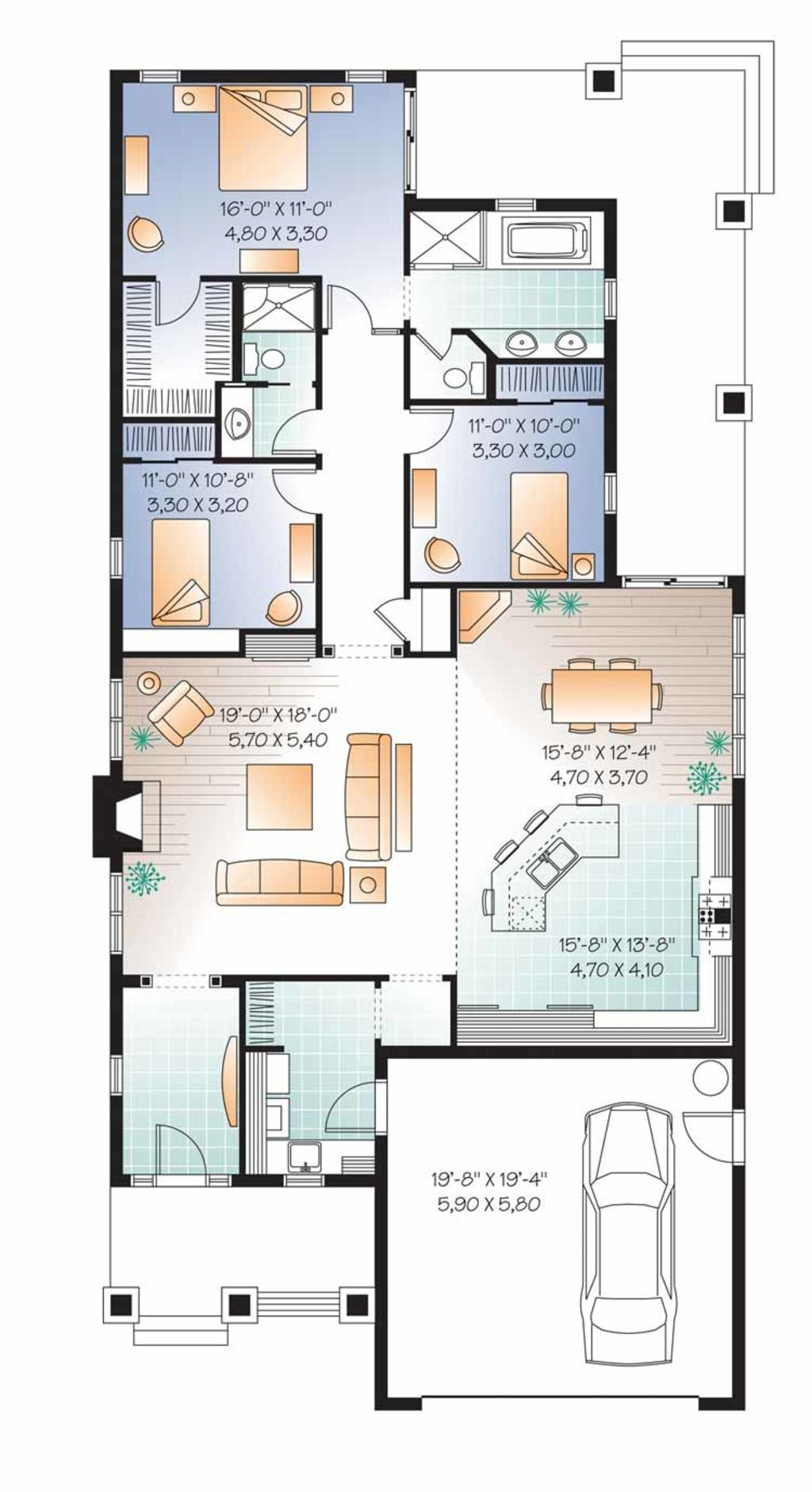 Traditional Style House Plan 3 Beds 2 Baths 1838 Sq Ft Plan 23 2532 New House Plans House Plans House Plans One Story