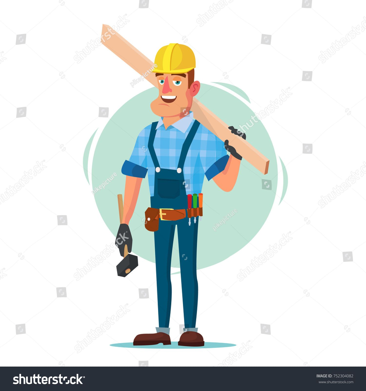 Classic Worker Or Carpenter Vector Civil Engineering Construction