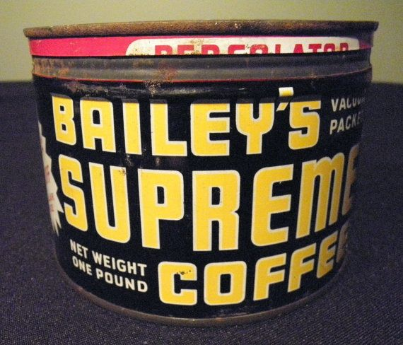 Vintage Bailey's Supreme Coffee Tin Can - 1940s - from DustyMillerAntiques on Etsy, $48.00